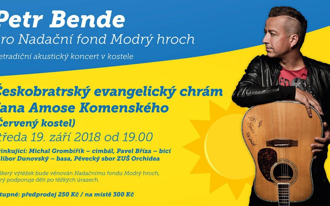Benefiční koncert PETR BENDE pro Modrého hrocha – pozvánka